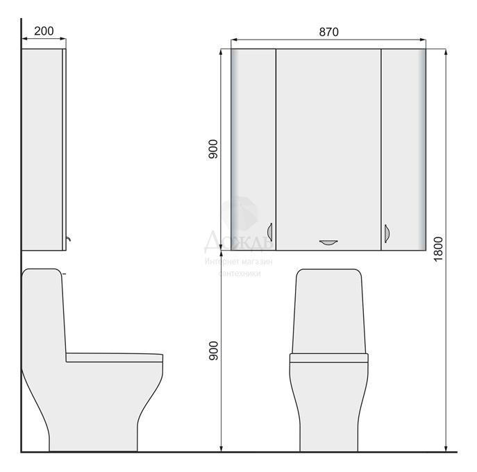 Купить Raval Space Spa.10.103/N/W 87 см в интернет-магазине Дождь