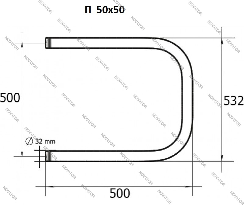 САН Лайн, 50х50 см, п-образный