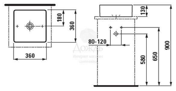 Купить Laufen Living Square 8.1143.3.000.112.1, 36 см в интернет-магазине Дождь