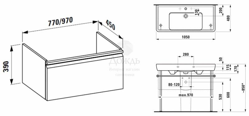 Купить Laufen PRO H 105 см, белый в интернет-магазине Дождь