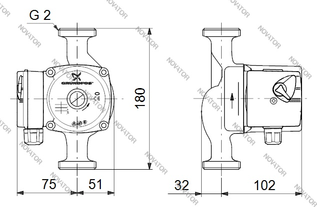 Grundfos 96281496 (59586547) UPS 32-60 с соединениями