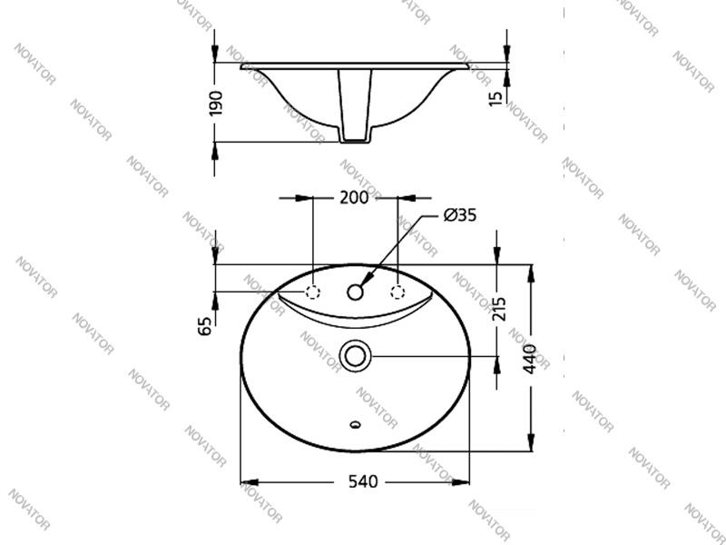 Ideal Standard Oceane W3063.01, 54 см