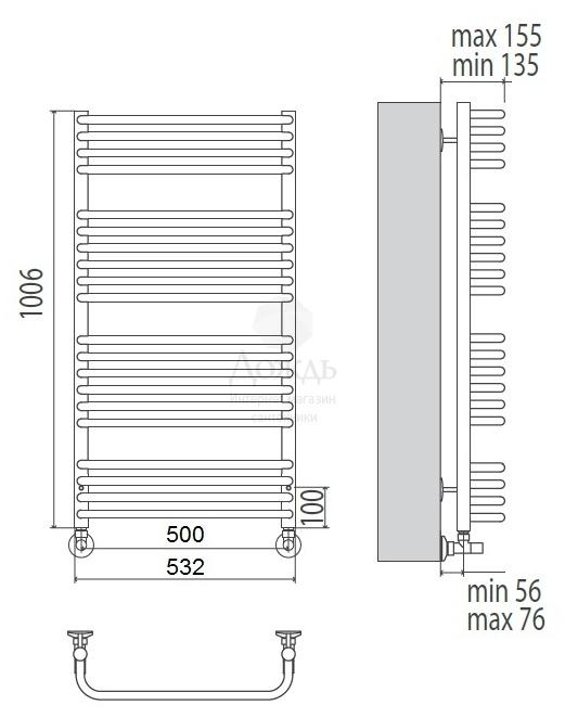 Купить Terminus Классик 32/20 П20, 100,6x50 см в интернет-магазине Дождь