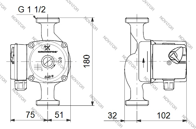Grundfos 96281477 (59526539) UPS 25-60 с соединениями