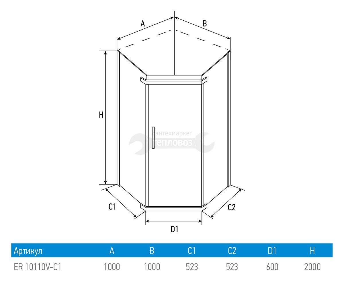 Отзывы Erlit ER 10110V C-1, 100х100 см с поддоном