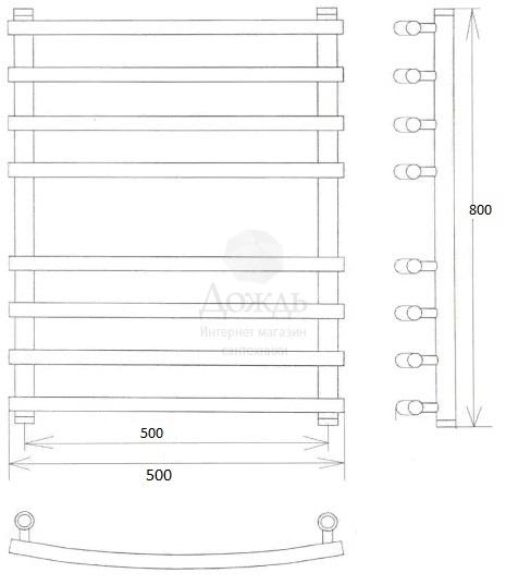 Купить Двин K 800х50см, черный матовый в интернет-магазине Дождь