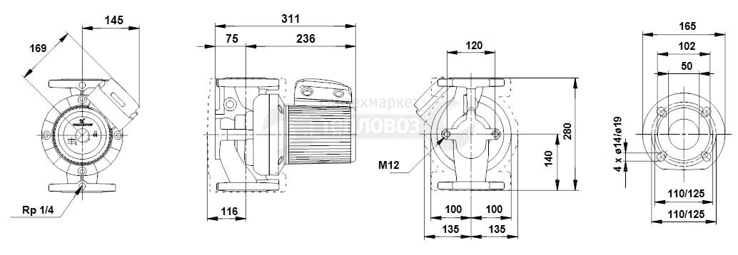 Grundfos 96402101 UPS 50-120 F