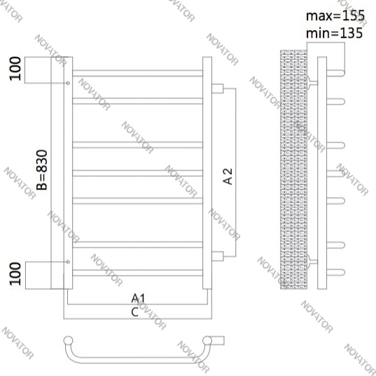 Terminus Классик 32/20 П7, 83x50 см, нижнее подключение