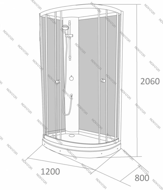 Galletta 913 W-ST-02 (L), 80х120 см, панель с форсунками
