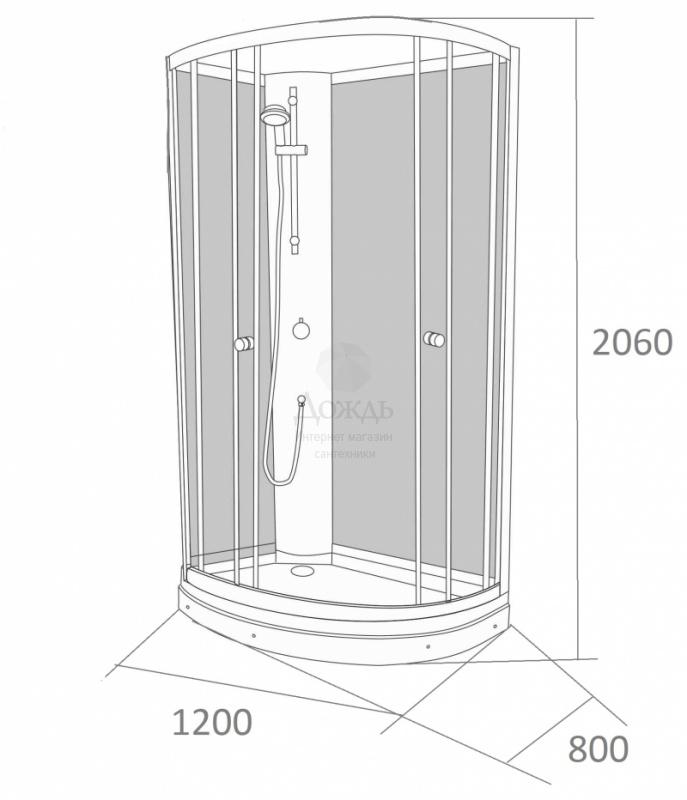 Купить Galletta 913 W-ST-02 (L), 80х120 см, панель с форсунками в интернет-магазине Дождь