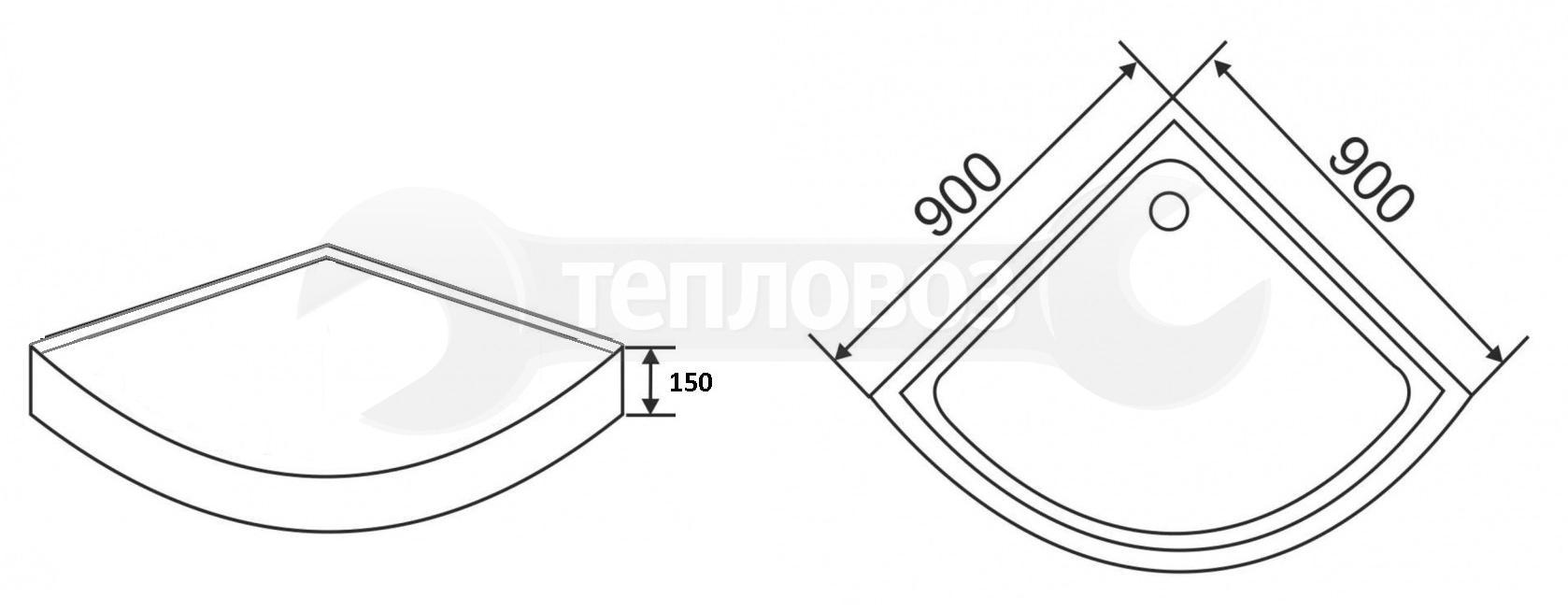 Galletta 310 90R W-ST-01, 90х90 см, полукруглый