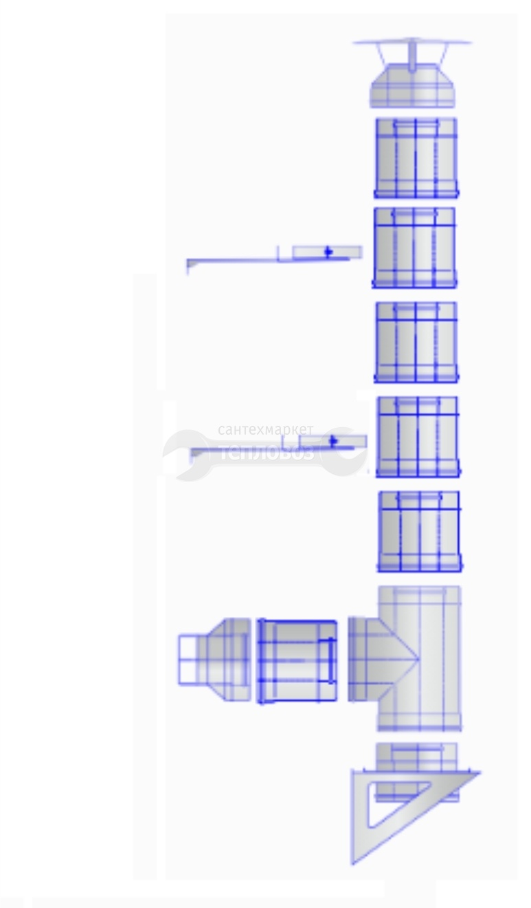 Купить Дымоход из оцинкованной стали Ferrum Ø 150 мм, 5 м, наружный в интернет-магазине Дождь