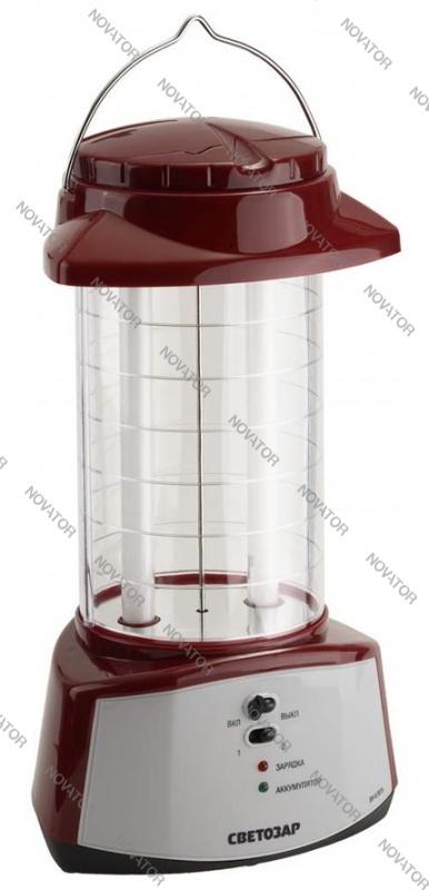 Светозар SV-57075_G 2люм. лампы 6вт, акк. 6В, 4,5 А*ч