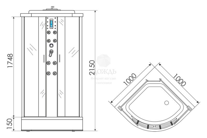 Купить Erlit Comfort ER4510P-C3, 100х100 см в интернет-магазине Дождь