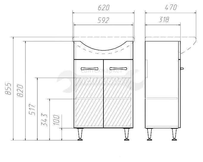 Домино Идеал УЮТ 60 DI44072T, 60 см