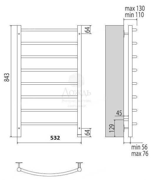 Купить Terminus Классик NEW 32/20 П8, 85(Н)х50 см в интернет-магазине Дождь